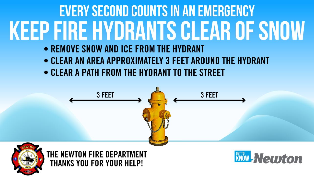 EVERY SECOND COUNTS IN AN EMERGENCY KEEP FIRE HYDRANTS CLEAR OF SNOW