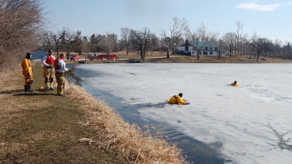 Newton Fire Department Trains for Surface Ice Rescue