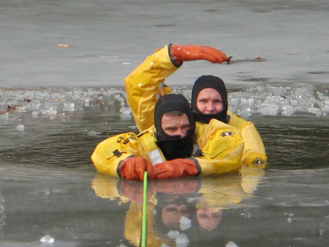 Viewing ice rescue training